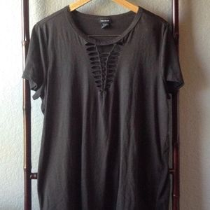 Torrid Charcoal Gray Braided Short Sleeve Top